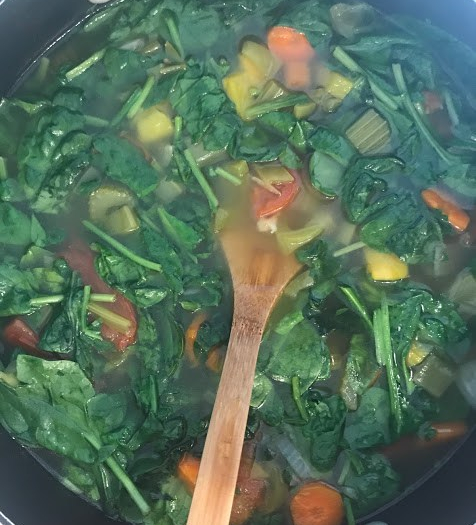 soup with spinach