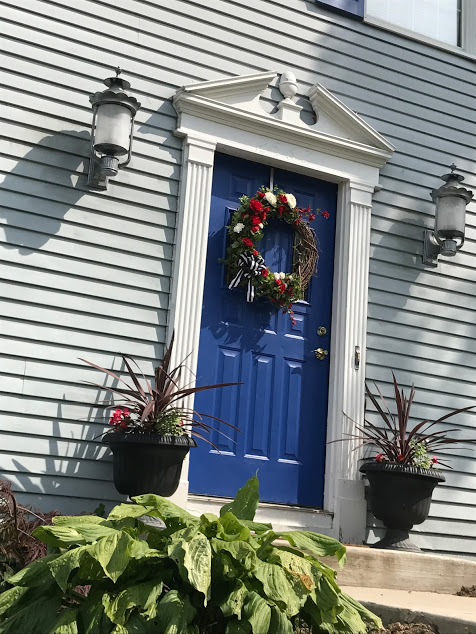 front door with hosta
